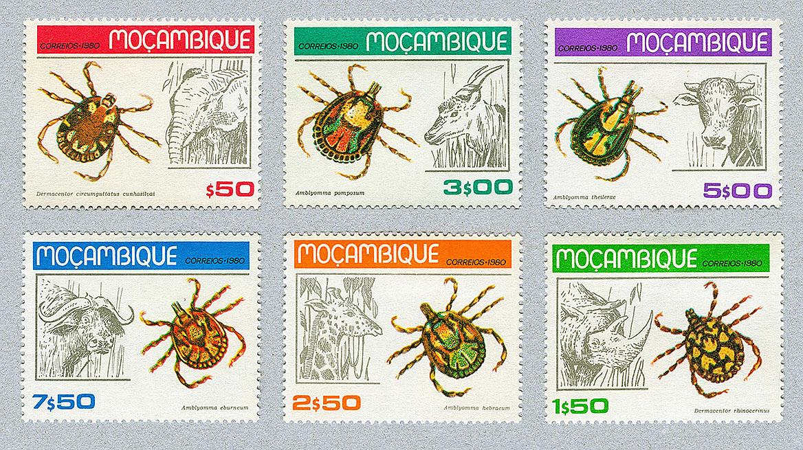 Zecken auf Briefmarken von Mozambique